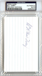 William Bill Terry Autographed 3x5 Index Card PSA/DNA #83694530