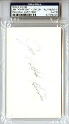 "Jim ""Catfish"" Hunter Autographed 3x5 Index Card PSA/DNA #83706399"