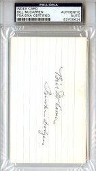 Bill McCarren Autographed 3x5 Index Card PSA/DNA #83706424