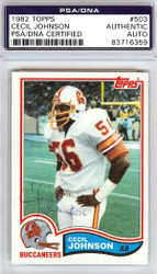 Cecil Johnson Autographed 1982 Topps Card #503 Tampa Bay Buccaneers PSA/DNA #83716359