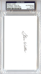 """Stanley """"Stan"""" Watts Autographed 3x5 Index Card BYU Cougars PSA/DNA #83721245"""