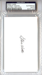 "Stanley ""Stan"" Watts Autographed 3x5 Index Card PSA/DNA #83721246"