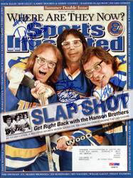 Hanson Brothers Slapshot Autographed Sports Illustrated Magazine With 3 Signatures Including Steve Carlson, Jeff Carlson & Dave Hanson PSA/DNA #X59876