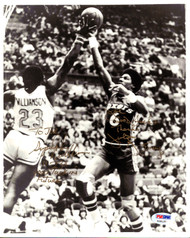 "Julius ""Dr. J"" Erving & John Williamson Autographed 8x10 Photo ""To Joe Good Luck"" PSA/DNA #Y29137"