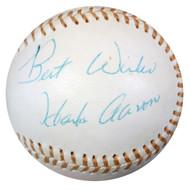 "Hank Aaron Autographed AL Baseball Atlanta Braves ""Best Wishes"" Vintage Playing Days Signature PSA/DNA #W05582"