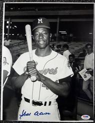 Hank Aaron Autographed 10.5x13.5 Photo Milwaukee Braves PSA/DNA #G69049