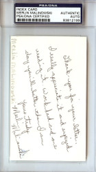 Merlin Malinowski Autographed 3x5 Index Card PSA/DNA #83812199