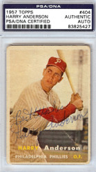 "Harry Anderson Autographed 1957 Topps Rookie Card #404 Philadelphia Phillies ""Best Wishes"" PSA/DNA #83825427"