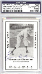 Emerson Dickman Autographed 1979 Diamond Greats Card #228 Boston Red Sox PSA/DNA #83829625