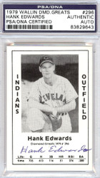 Hank Edwards Autographed 1979 Diamond Greats Card #296 Cleveland Indians PSA/DNA #83829643