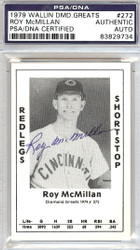Roy McMillan Autographed 1979 Diamond Greats Card #272 Redlegs PSA/DNA #83829734