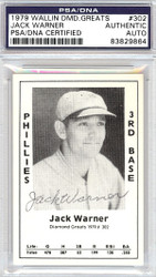 Jack Warner Autographed 1979 Diamond Greats Card #302 Phillies PSA/DNA #83829864