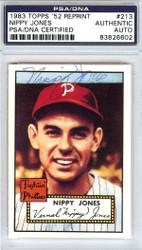 Nippy Jones Autographed 1952 Topps Reprint Card #213 Philadelphia Phillies PSA/DNA #83826602