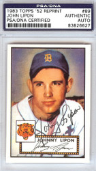 John Lipon Autographed 1952 Topps Reprint Card #89 Detroit Tigers PSA/DNA #83826627