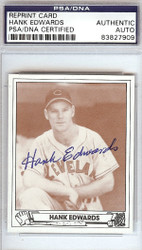 Hank Edwards Autographed 1943 Play Ball Reprint Card #7 Cleveland Indians PSA/DNA #83827909