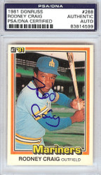 Rodney Craig Autographed 1981 Donurss Card #288 Seattle Mariners PSA/DNA #83814599