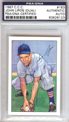 John Lipon Autographed 1952 Bowman Reprints Card #163 Detroit Tigers Signed Twice PSA/DNA #83826123