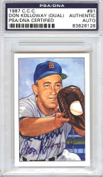 Don Kolloway Autographed 1952 Bowman Reprints Card #91 Detroit Tigers Signed Twice PSA/DNA #83826128