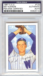 Sid Hudson Autographed 1952 Bowman Reprints Card #123 Washington Senators PSA/DNA #83826142