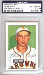 Hank Arft Autographed 1951 Bowman Reprints Card #173 St. Louis Browns PSA/DNA #83826819