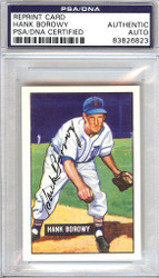 Hank Borowy Autographed 1951 Bowman Reprints Card #250 Detroit Tigers PSA/DNA #83826823