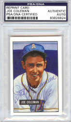 Joe Coleman Autographed 1951 Bowman Reprints Card #120 Philadelphia A's PSA/DNA #83826824