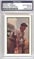 Mickey Vernon Autographed 1953 Bowman Reprint Card #159 Washington Senators PSA/DNA #83827474