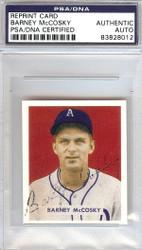 Barney McCosky Autographed 1949 Bowman Reprint Card #203 Philadelphia A's PSA/DNA #83828012
