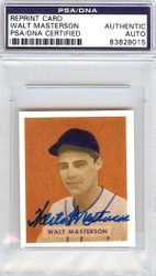 Walt Masterson Autographed 1949 Bowman Reprint Card #157 Washington Senators PSA/DNA #83828015