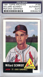 Willard Schmidt Autographed 1991 Topps Archives 1953 Reprint Card #168 St. Louis Cardinals PSA/DNA #83828278