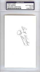 "Yogi Berra Autographed 3x5 Index Card New York Yankees ""Best Wishes"" Vintage PSA/DNA #83829001"