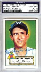 Mickey Vernon Autographed 1983 Topps 1952 Reprint Card #106 Washington Senators PSA/DNA #83857281
