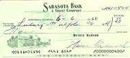 Heinie Manush Autographed Check Washington Senators Check #0400 SKU #100280