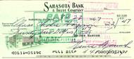 Heinie Manush Autographed Check Washington Senators Check #2247 SKU #100283