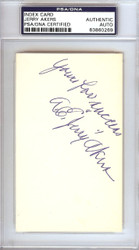 A.E. Jerry Akers Autographed 3x5 Index Card Washington Senators PSA/DNA #83860269