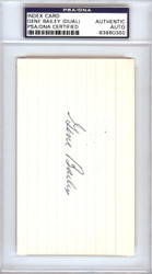 Gene Bailey Autographed 3x5 Index Card A's, Braves Signed Twice PSA/DNA #83860350