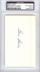 Gene Bailey Autographed 3x5 Index Card A's, Braves Signed Twice PSA/DNA #83860352