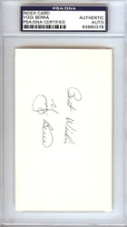 "Yogi Berra Autographed 3x5 Index Card New York Yankees ""Best Wishes"" PSA/DNA #83860378"