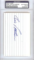 Arnie Portocarrero Autographed 3x5 Index Card Philadelphia A's PSA/DNA #83862281
