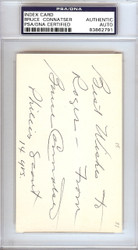 "Bruce Connatser Autographed 3x5 Index Card Phillies, Tigers ""To Roger"" PSA/DNA #83862791"