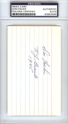 """Don Fisher Autographed 3x5 Index Card New York Giants """"N.Y. Giants 1945"""" PSA/DNA #83862899"""