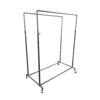 "50"" Wide Double Bar Adjustable Height Rolling Pipe Rack  Raw Metal"