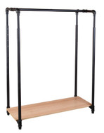 42 Pipeline Clothing Rack with Bottom Shelf  Matte Black