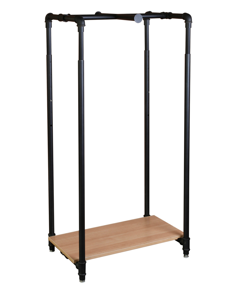 stunning black pipe industrial racks diy rolling wooden rack shoes steel with wardrobe clothing clothes shelves for