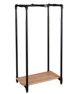 28 Pipe Clothing Rack with Bottom Shelf & Cross Bar  Matte Black