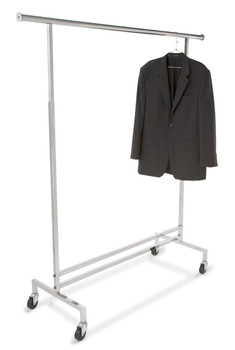 Adjustable Height Rolling Clothing Display Rack | Chrome