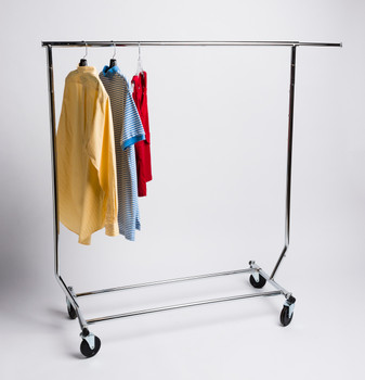 Collapsible Single Rail Salesman Rolling Clothing Rack | Chrome