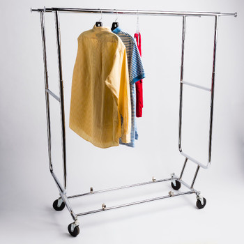 Double Rail Collapsible Rolling Clothing Rack