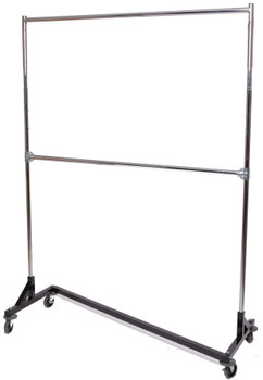 Adjustable Height Double Rail Rolling Garment Z Rack 5ft | Black