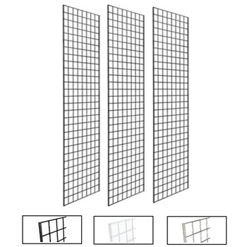 2' X 7' Gridwall Panels | Black, White or Chrome | Case of 3